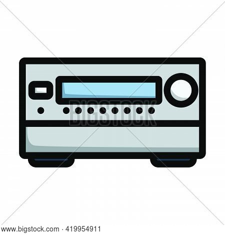 Home Theater Receiver Icon. Editable Bold Outline With Color Fill Design. Vector Illustration.