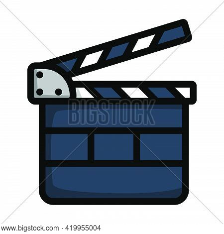 Clapperboard Icon. Editable Bold Outline With Color Fill Design. Vector Illustration.