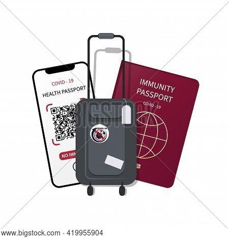 Tourist Baggage. Immune Passport, Digital Health Passport, Qr Code In Mobile Phone. Test Results