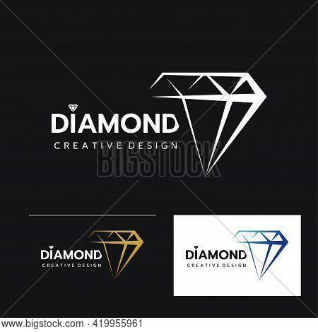 Set Of Beautiful Diamond Jewelry Logo Template, Stylized Image Of Diamond Logo Icon, Diamond Tattoo,