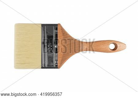 Clean New Paint Brush Isolated On White Background. Yellow Handle Paint Brush Isolated On White Back