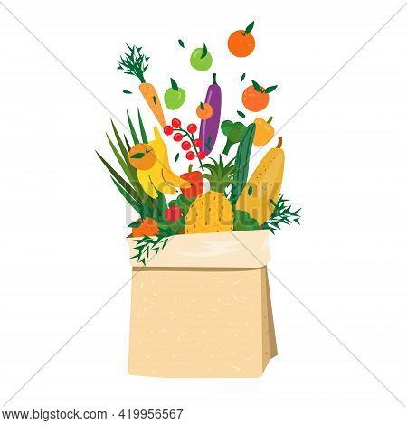 Flying Fruits And Vegetables In Paper Bag. Eco Concept Of Healthy Eating, Grocery Shopping, Diet, Ve