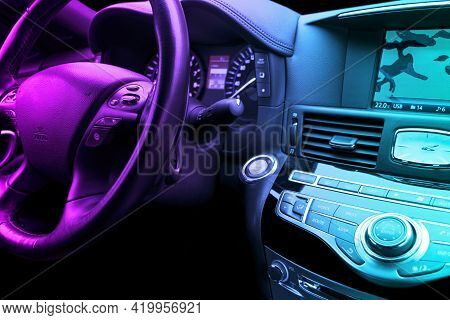 Luxury Car Inside. Interior Of Prestige Modern Car. Comfortable Leather Seats. Black Perforated Leat