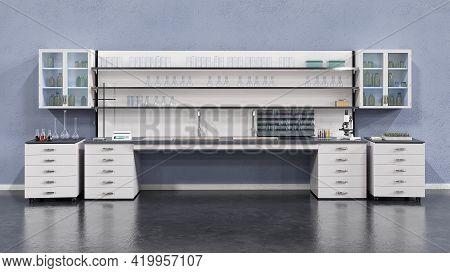 Laboratory Furniture Interior Background. 3d Ralistic Illustration