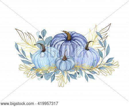 Watercolor Pumpkin Composition, Floral Pumpkins, Halloween Clip Art, Autumn Design Elements, Fall Ar