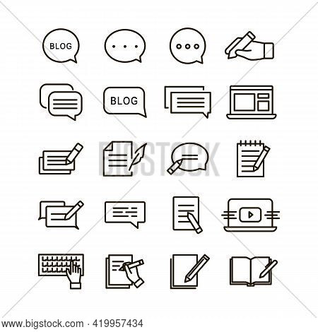 Linear Icons Set. 20 Icons On Blog, Text, Writing Posts