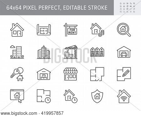 Real Estate Line Icons. Vector Illustration Include Icon - House, Insurance, Commercial, Blueprint,