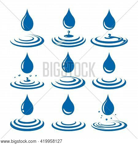 Drops With Ripple. Falling Droplet With Waves Vector Illustration, Dribble Liquid Raindrops Graphics