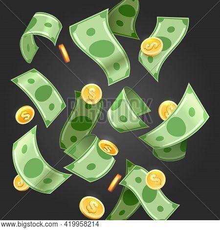 Dollar Falling Rain. Floating Money Wallpaper, Flying Cash Shower Vector Illustration, Bills And Coi