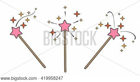 Pink Magic Wand. Magical Princess Stick With Star For Love Fairytale And Dreams Witchcraft, Tooth Fa