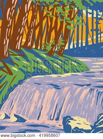 Wpa Poster Art Of Boykin Creek Waterfall In Angelina National Forest Located In East Texas In Parts