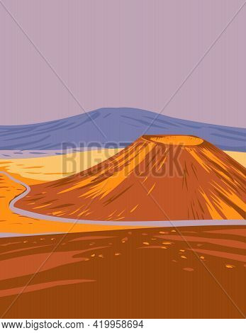Wpa Poster Art Of The Mauna Kea In Hawaii Volcanoes National Park, One Of Five Volcanoes That Form T