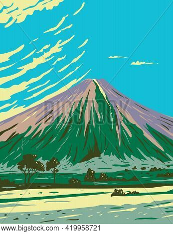 Wpa Poster Art Of The Mauna Loa In Hawaii Volcanoes National Park, One Of Five Volcanoes That Form T