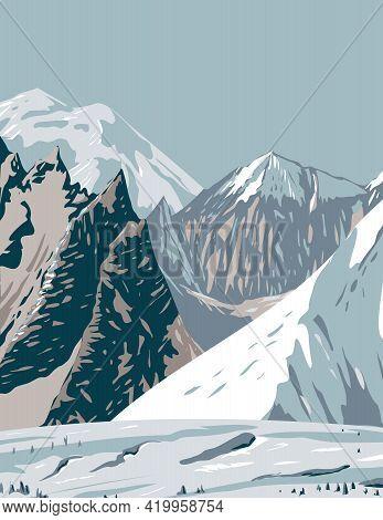 Wpa Poster Art Of Mount Hunt, Mount Huntington And Mount Dickey Of The Alaska Range Near Denali Nati