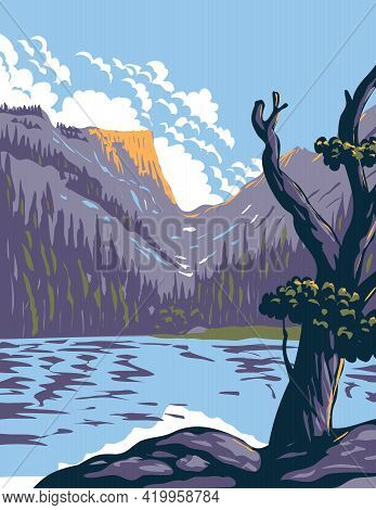Wpa Poster Art Of Loch Lake In Rocky Mountain National Park Within Front Range Of Rocky Mountains Lo