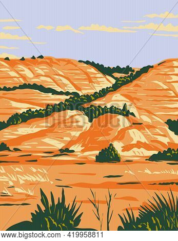 Wpa Poster Art Of North Dakota Badlands In Theodore Roosevelt National Park Located In Medora, North