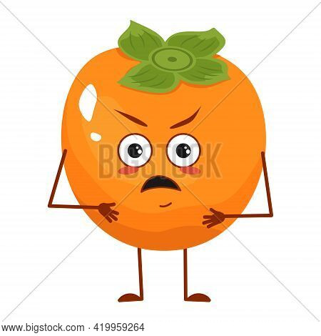 Cute Persimmon Character With Angry Emotions, Face, Arms And Legs. The Funny Or Grumpy Food Hero, Fr