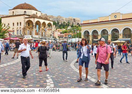 Athens, Greece  - September 20, 2019: People in Monastiraki Square in Athens. Cityscape