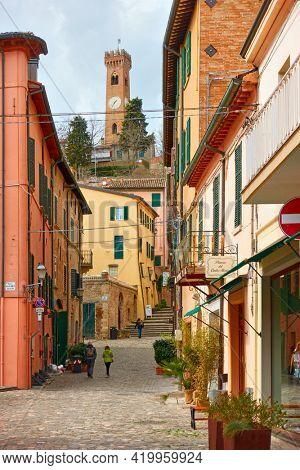 Santarcangelo di Romagna town, Emilia-Romagna, Italy - February 26, 2020: Old street  in Santarcangelo di Romagna town. Italian cityscape