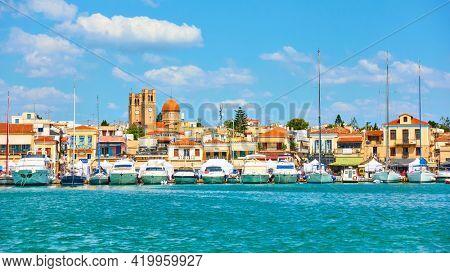 Aegina, Greece  - September 13, 2019: Marina and seafront in Aegina town
