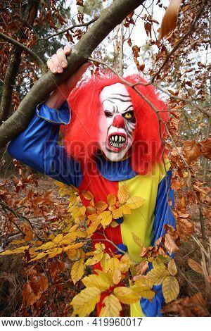 Halloween Holiday. Creepy Clown Halloween Costume.traditional Masquerade And Carnival In October.cre