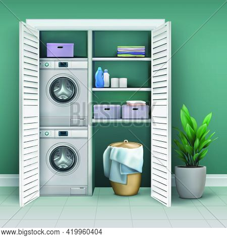 Storage Closet With Washing Machine And Means For Washing And Laundry. Vector 3d Realistic Illustrat