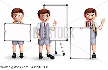 School Boy Presentation Vector Character Set. Male 3d Student Holding And Showing Whiteboard Element
