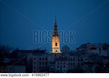 Panorama Of The Old City Of Belgrade At Night With A Selective Blur On Saint Michael Cathedral, Also