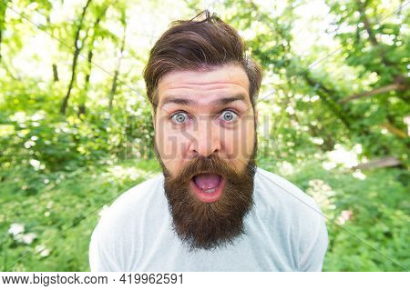Go Wild. Crazy Bearded Man In Natural Environment. Hipster With Long Beard Emotional Face Close Up N