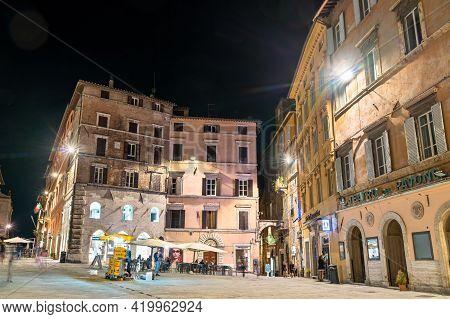 Perugia, Italy - September 4, 2020: Traditional Italian Architecture In Perugia At Night. Perugia Is