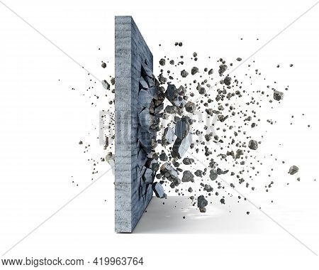 Concrete Wall On A White Background Shatters Into The Pieces, 3d Illustration