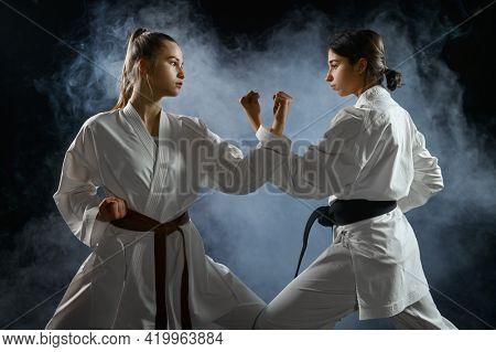Female karate fighters, dark smoky background