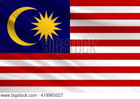 Flag Of Malaysia. Fabric Texture Of The Flag Of Malaysia.