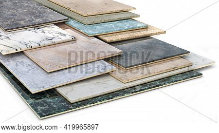 Ceramic Tiles Samples In Different Sizes And Colour Spectrum Stacked One On Another, 3d Illustration