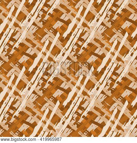 Vector Wicker Weave Dense Seamless Pattern Background. Painterly Brush Stroke Effect Criss Cross Bac