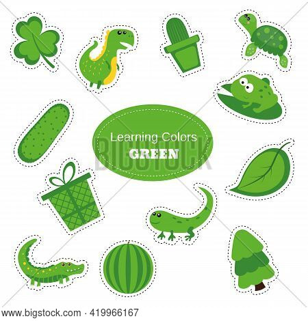 Green Objects. Learning Colors. Color Worksheet. Education Set. Illustration Of Primary Colors.