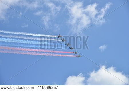 Moscow, Russia - May 5, 2021: Six Russian Military Aircraft Fly In The Sky. Fighters In The Sky Over