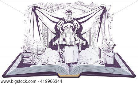Faust And Mephistopheles Devil Seduces Scientist Alchemist