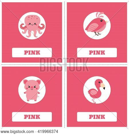 Cards For Learning Colors. Pink Color. Education Set. Illustration Of Primary Colors.