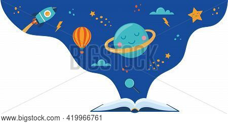 Open Book And Space Elements. Planet, Rocket, Star, Cloud, Aerostat. Education Concept For Kids. Kno