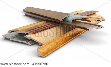 Baseboards In Different Colors And Variations Stacked Up And Isolated On White Background, 3d Illust