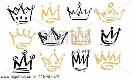 Doodle Crowns. Line Art King Or Queen Crown Sketch, Fellow Crowned Heads Tiara, Beautiful Diadem. Sk