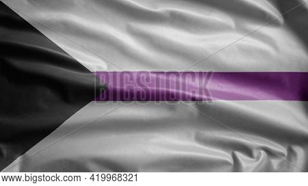 Demisexuality Flag Waving In The Wind. Demisexual Banner Blowing.