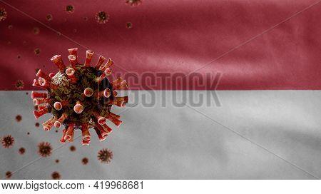 3D, Flu Coronavirus Floating Over Monacan Flag. Monaco And Pandemic Covid 19