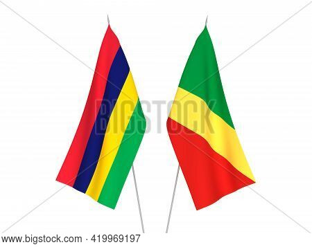 National Fabric Flags Of Republic Of Mauritius And Republic Of The Congo Isolated On White Backgroun