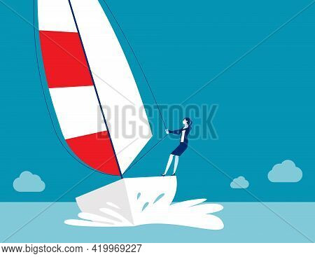 The Business Struggle Regatta Ship. Sailing Time