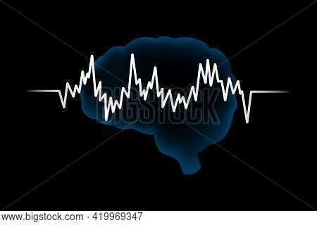 The Concept Of Mental Health. A Brain With A Heartbeat Icon On A Black Background.vector Blue Brain