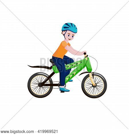 Little Boy On A Bicycle. A Child Riding A Bicycle Outdoors Wearing A Helmet. Baby Posture Riding Bic