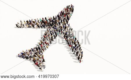 Concept conceptual large community of people forming the airplane sign. 3d illustration metaphor for modern, fast, comfortable and  secure transportation, holiday and business