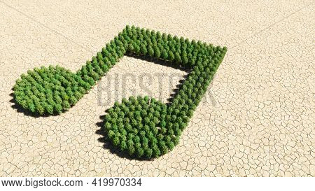 Concept or conceptual group of green forest tree on dry ground background, music sign. 3d illustration metaphor for melody, tempo, multimedia, composition, harmony or classic sound
